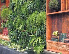 """Nesse ambiente criado por Gigi Botelho para uma mostra de decoração em São Paulo, a água """"brota"""" da fonte instalada por trás do quadro de samambaias e deságua em um espelho d'água repleto de plantas aquáticas"""