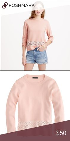 J. Crew sweater Gorgeous lace hem sweater by J. Crew. Semi- fitted, hits slightly below the hip. 3/4 sleeve.  Very soft blush pink. 100% cotton. Machine wash. Size small. New without tags. No trades. So pretty! ❤️ J. Crew Sweaters