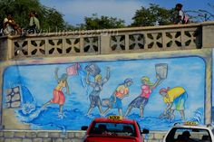 Woman and water Mural in São Filipe, Fogo island - Cape Verde / Cabo Verde. There's a farmers market here.
