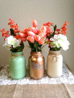 3 jar set Mint Green Gold and Cream Jars by STITCHandCABOODLE, $32.00