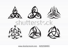 Triquetra symbol. Decorated Trinity knot. Ancient Celtic symbol of eternity. Logo for yoga studio