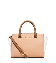 Selma try-color satchel in Nude/White/Peanut. It's the perfect Spring to Fall bag. WISH LIST!