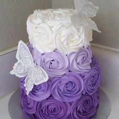 Purple Ombre Rosette Cake- perfect first birthday cake! Pretty Cakes, Cute Cakes, Beautiful Cakes, Amazing Cakes, Simply Beautiful, Beautiful Wedding Cakes, Ombre Rosette Cake, Pink Ombre Cake, Bolo Cake