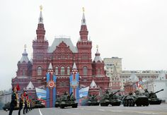 Russian self propelled guns roll during the Victory Day parade at the Red Square in Moscow on May.