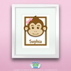 Personalized Children or Baby Gift Girl Monkey by Madeforjake, $11.00