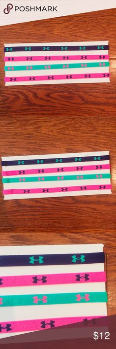 Under Armour Mini Headband 4-Pack UNDER ARMOUR WOMEN'S MINI HEADBAND 4-PACK. ONE SIZE. NEW! Pink Teal & Blue Under Armour Accessories Hair Accessories