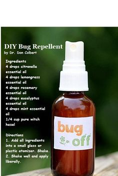 All-Natural Bug Spray Recipe Ingredients 4 drops citronella essential oil 4 drops lemongrass essential oil 4 drops rosemary essential oil 4 drops eucalyptus essential oil 4 drops mint essential oil cup pure witch hazel Directions Add all ing Citronella Essential Oil, Lemongrass Essential Oil, Eucalyptus Essential Oil, Essential Oils, Citronella Oil, Pure Witch Hazel, Home Remedies, Natural Remedies, Health And Beauty