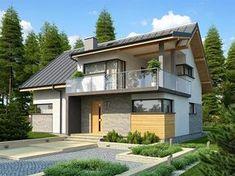 Proiect de casa cu birou, 3 dormitoare si terasa acoperita la mansarda