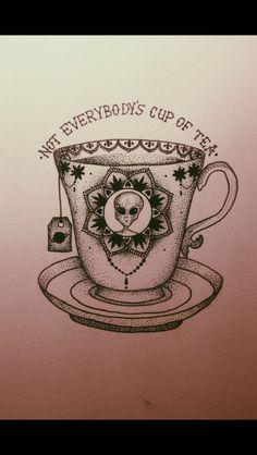 Alien tea tattoo
