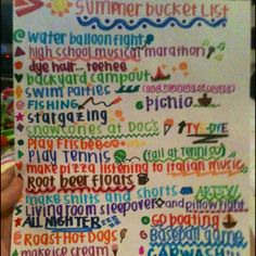 summer bucket list ☀ I would love to do all of them except dye my hair, I love the color of my hair!