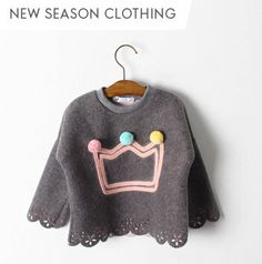 Are you interested in our girl's crown tunic? With our girl's cotton pompom top you need look no further. Toddler Fashion, Kids Fashion, Girls Pjs, Cotton Fleece, Kids Prints, Winter Looks, Tee Design, Winter Wear, Kids Wear