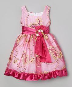 Loving this Pink & Gold Paisley Sequin Dress - Infant, Toddler & Girls on #zulily! #zulilyfinds