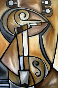 Abstract Art Paintings Painting - Strings - Original Cubist Art By Fidostudio by Tom Fedro - Fidostudio Cubist Portraits, Picasso Portraits, Portrait Paintings, Music Painting, Art Music, Cubist Art, Abstract Art, Abstract Paintings, Art Paintings