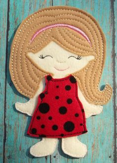 """Olivia  felt dress up unpaper paper doll 7"""" from my """"Unpaper Felt Dolls Share"""" collection Listing for doll only by cabincraftycreations on Etsy"""