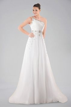 A-Line One Shoulder Court Train Wedding Dress with Crystals and Beading