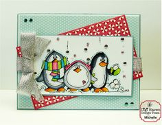 Penquin Trio by Bugaboo Stamps - created by Krazee Kraftin' Mama