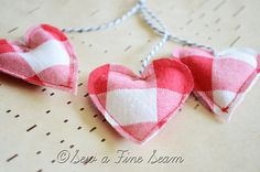 Toy Tea Bags for Little Girls made from vintage red plaid fabric great for Valentines Day