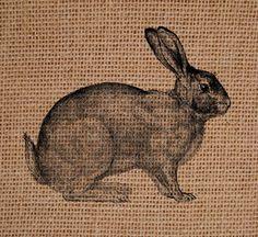 Burlap Bunny  on Burlap Burlap Art Monogram on by SunBeamSigns, $20.00