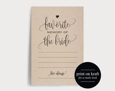 Bridal Shower Game, Favorite Memory of the Bride, Bridal Shower Printable, Wedding Shower, Printable Game, PDF Instant Download from Bliss Paper Boutique #BPB283 $5.00