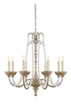 Visual Comfort CHC1543BW-SG E. F. Chapman Flanders Small Chandelier in Belgian White with Seeded Glass Beads
