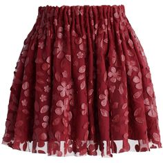 Chicwish Falling Petal Mini Skirt in Wine ($30) ❤ liked on Polyvore featuring skirts, mini skirts, bottoms, red, pleated skirt, mesh skirt, layered skirt, pleated mini skirt and red skirt