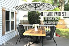 Outdated patio set rustic makeover
