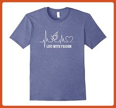 Mens Live with the passion for science 2XL Heather Blue - Math science and geek shirts (*Partner-Link)