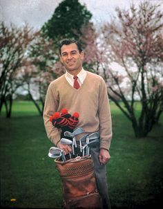 Ben Hogan appeared with his bag in this color portrait taken at Augusta National in the 1940s. Hogan won the Masters in 1951 and 1953.