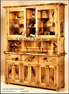 Naughty (Knotty) Refined Rustic White Oak & Black Walnut China Hutch, Antler Handles, Antique Glass