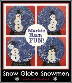 Peinture à bille, collage- Hiver, Noel- Boule à neige- Bonhomme de neige