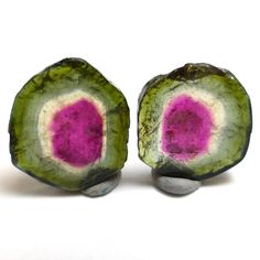Watermelon Tourmaline Cabochon Sliced Pair for by saxdsign on Etsy