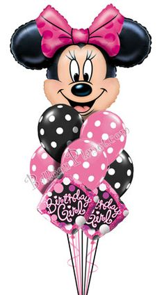 Minnie Birthday I Jumbo Head Balloon Bouquet 9 Balloons
