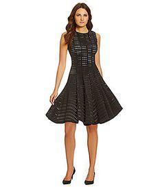 Calvin Klein Perforated Scuba ALine Dress #Dillards