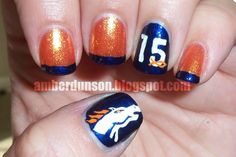 Amber did it!: Denver Broncos nails my friend Michele Denver Broncos Nails, Football Nails, Denver Broncos Football, Broncos Fans, Cute Nails, Pretty Nails, Beauty Hacks, Beauty Tips, Beauty Products