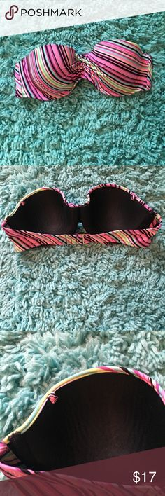 Victoria's Secret Bathing Suit Top 36C Padded Great Swim Top from Victoria's Secret. Multi colored striped top. It is a 36c with padding. There is a place for a strap but the strap is not available. Excellent condition. Victoria's Secret Swim Bikinis