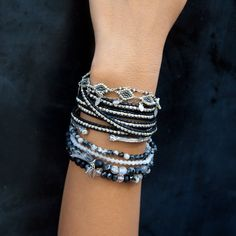 Chan Luu - Sterling Silver Wrap Bracelet on Black Leather, $195.00