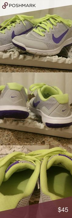 Nike Flex T3 style light grey, lime green & purple Nike light weight tennis shoes, flex sole, beautiful color mix. Perfect for running, biking and dancing. Too small for me, I am a 5.5 and this is a true adult 5. It says Y 3.5 on the tag. Used once only. Like new condition. Nike Shoes Sneakers