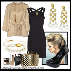 """""""Citrine and Pearls and Little Black Dress"""" by jacqueline-jordan on Polyvore. Citrine and Pearl Earrings $43.86 (save 105) http://www.pinterest.com/pin/569986896560711911/"""