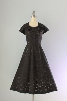 1950s Dress / Vintage 50s Black Cotton Day Dress / by HolliePoint, $64.00