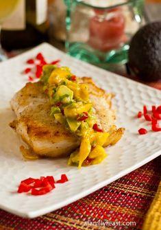 A delicious recipe for Pan Seared Halibut with Mango-Avocado Salsa.