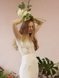 Wedding Hairstyles Inspiration : 20 from Hermione de paula wedding dresses 2016 -Sheer bodice with an overlay of fine flower detailing and tight fitting skirt – see the rest of the collection… 2016 Wedding Dresses, Designer Wedding Dresses, Wedding Gowns, Dresses 2016, Hermione, Bodice Wedding Dress, Boho Gown, Bridal Jumpsuit, Wedding Hair Inspiration