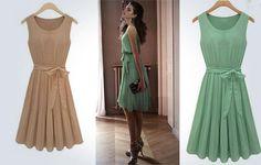 2 x Chic Chiffon Pleated skirt dress