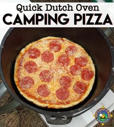 Simple Dutch Oven Pizza Recipe for Camping - Looking for a simple camping recipe for your next trip? Make this Dutch Oven Pizza Recipe using cheap ingredients, which are elevated in cast iron dutch oven. Campfire Dutch Oven Recipes, Dutch Oven Pizza, Dutch Oven Camping, Campfire Food, Camp Oven Recipes, Camping Pizza, Camping Meals, Camping Dishes, Backpacking Meals