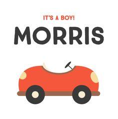 Simpel en helemaal hip is dit kaartje met schattige rode auto. Less is more!