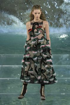 A look from the Fendi 90 Year show at the Trevi Fountain in Rome. Photo: Imaxtree.