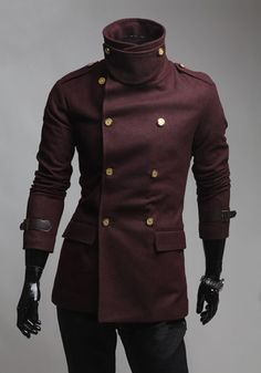 Slimming Solid Color Turndown Collar Double-Breasted Long Sleeves Men's Woolen Coat