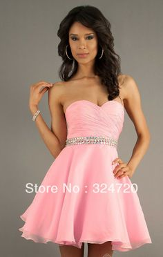 2014 new sparkling beading short pink chiffon prom dress damas dress for sweet 16 party Style AL-3552 free shipping $89.25