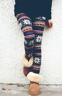 great winter leggings, especially with fluffy boots.