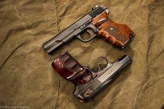 Yugo M57 Tokarev and Bulgarian Makarov, both with custom grips