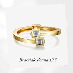 Linee sinuose, estetica elegante firmate Luca Barra Gioielli. #bangle in #metallo #dorato e #cristalli #bianchi 19€ #donna #woman #collezione #fashion #jewels #bijoux #fashion #bracciale #cristalli